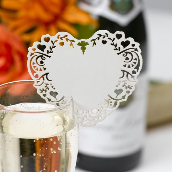 Vintage Romance Ivory Laser Cut Place Cards For Glass (10)
